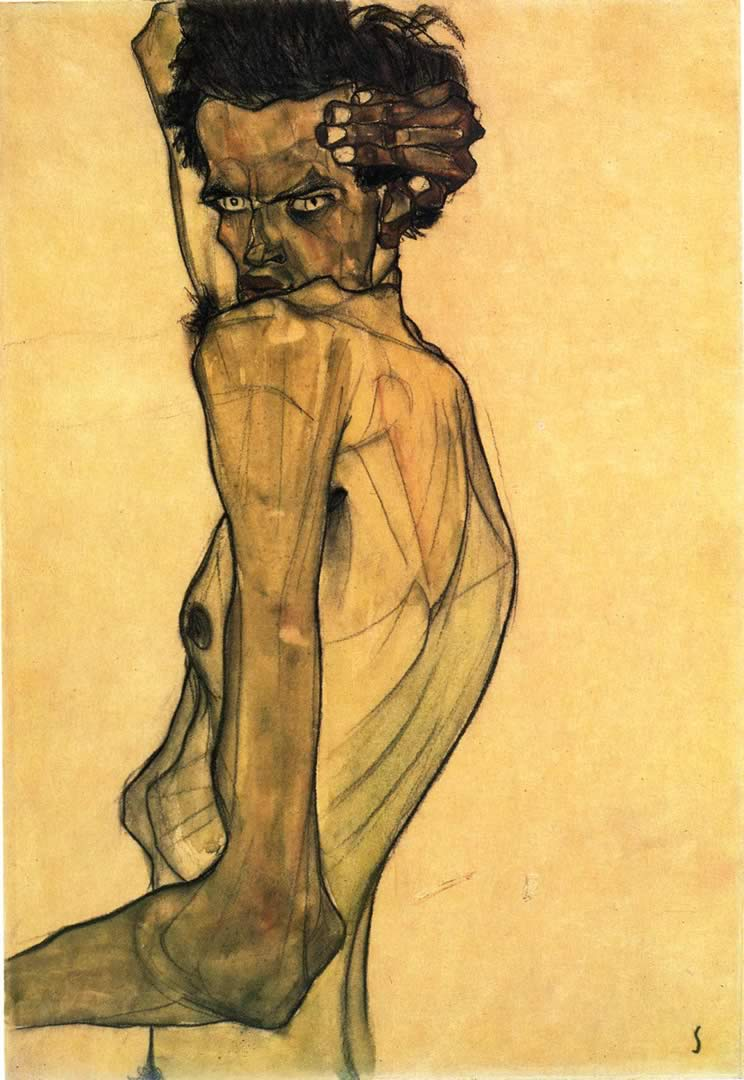 Self-Portrait with Arm Twisted Above Head - Egon Schiele