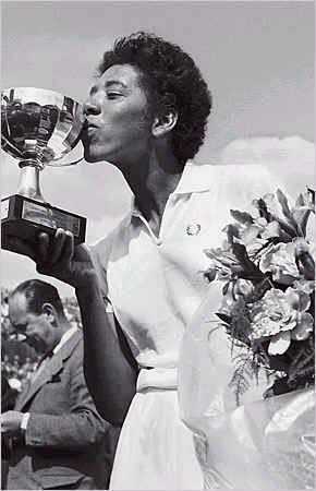 Althea Gibson, first African-American woman to win Wimbledon