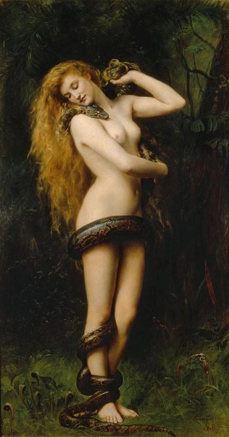 John Collier,Lilith (1892). Lilith è una figura presente nelle antiche religioni mesopotamiche e nella prima religione ebraica, che potrebbe averla appresa dai babilonesi assieme ad altri culti e miti (vedi Diluvio universale) durante la prigionia di Babilonia. Alla fine dell'Ottocento, in parallelo alla crescente emancipazione femminile nel mondo occidentale, la figura di Lilith diventa il simbolo del femminile che non si assoggetta al maschile e, rivalutata nelle religioni neopagane.