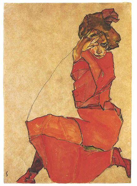 egon schiele kneeling girl