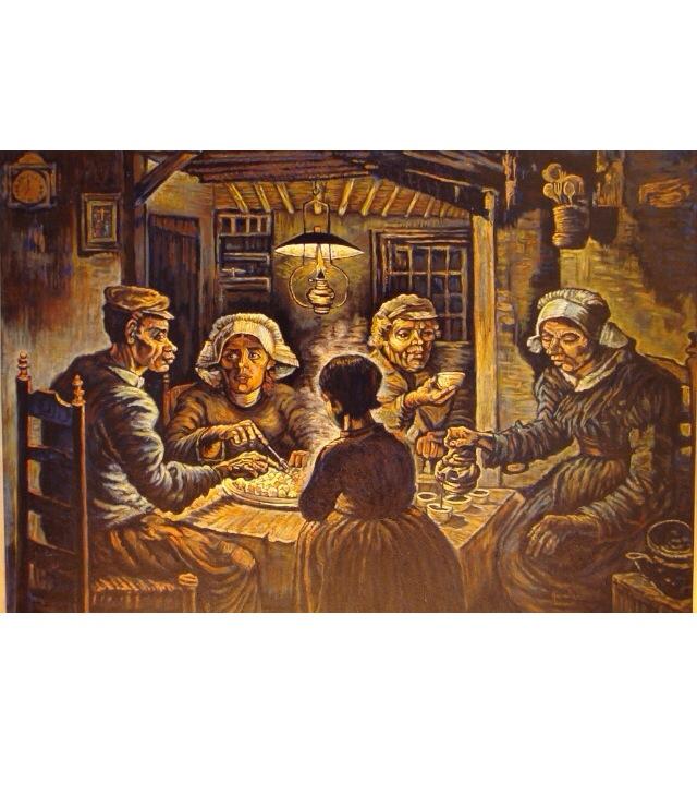 Risultati immagini per i mangiatori di patate anno I mangiatori di patate (olandese: De Aardappeleters) è un dipinto di Vincent van Gogh a olio su tela (82x114 cm), realizzato nell'aprile 1885. È conservato nel Museo Van Gogh di Amsterdam.
