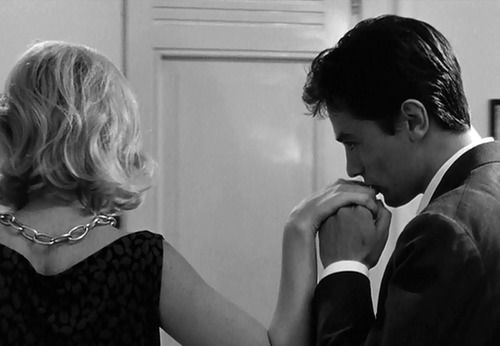Alain Delon and Monica Vitti in L_ECLISSE (1962) directed by Michelangelo Antonioni